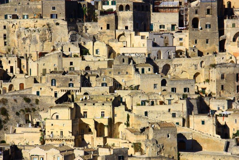 Den historiska staden av Matera royaltyfria foton