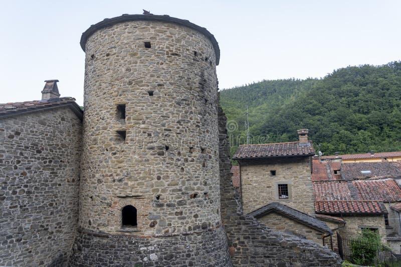 Den historiska staden Bagno di Romagna, Italien arkivbild