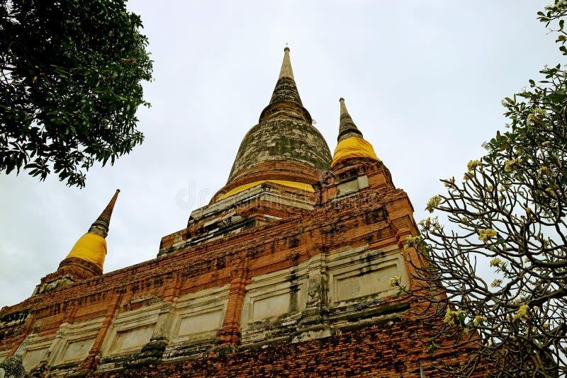 Den historiska Stupaen eller Chedien av Wat Yai Chai Mongkhon Temple mot molnig himmel, Ayutthaya arkeologisk plats, Thailand arkivfoton