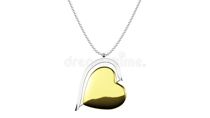 Den hjärta formade guld- hängen på en kedja 3D framför vektor illustrationer