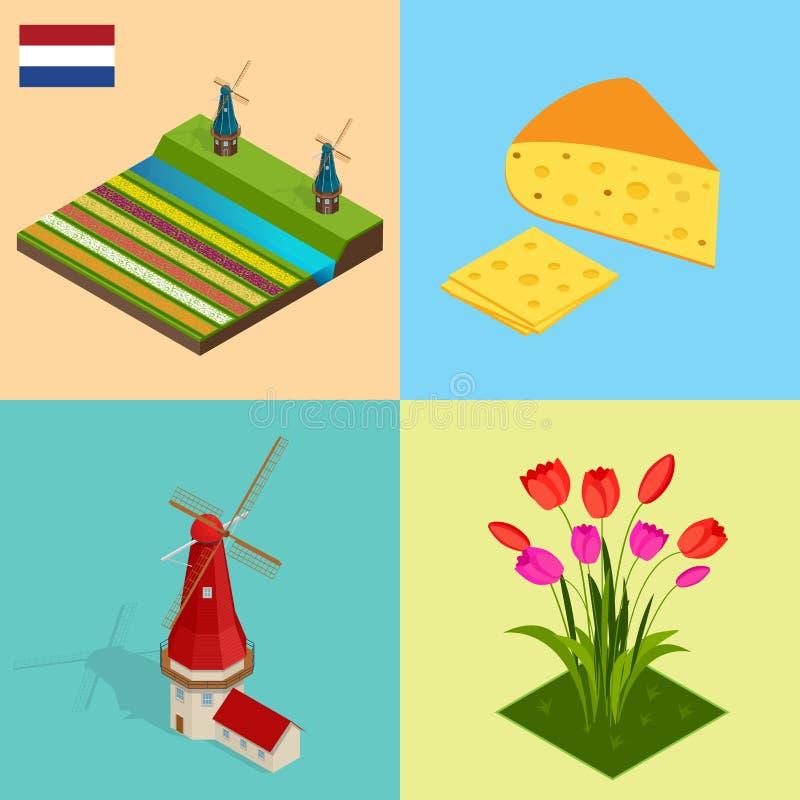 Den holländska väderkvarnen och färgrika tulpan blommar, Nederländerna SymbolHolland ost, väderkvarn, tulpan, flagga Plan vektor  royaltyfri illustrationer