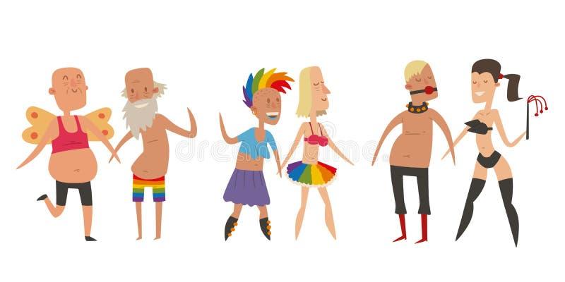 Den homosexuella mannen för bög och lesbisk kvinnafolkförbindelsen, kvinna kopplar ihop familjen och färgar för ceremonigemenskap royaltyfri illustrationer