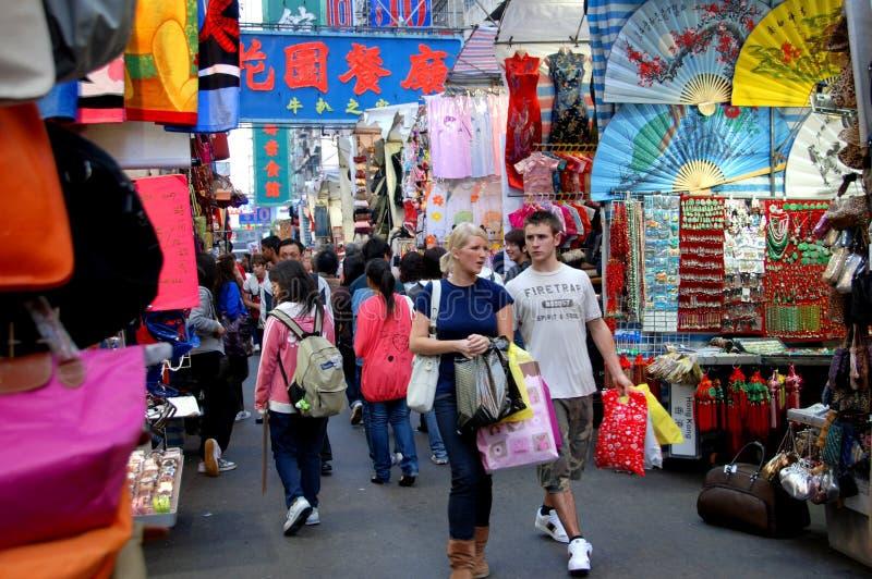 den Hong Kong damtoaletten market mileshoppare royaltyfri foto