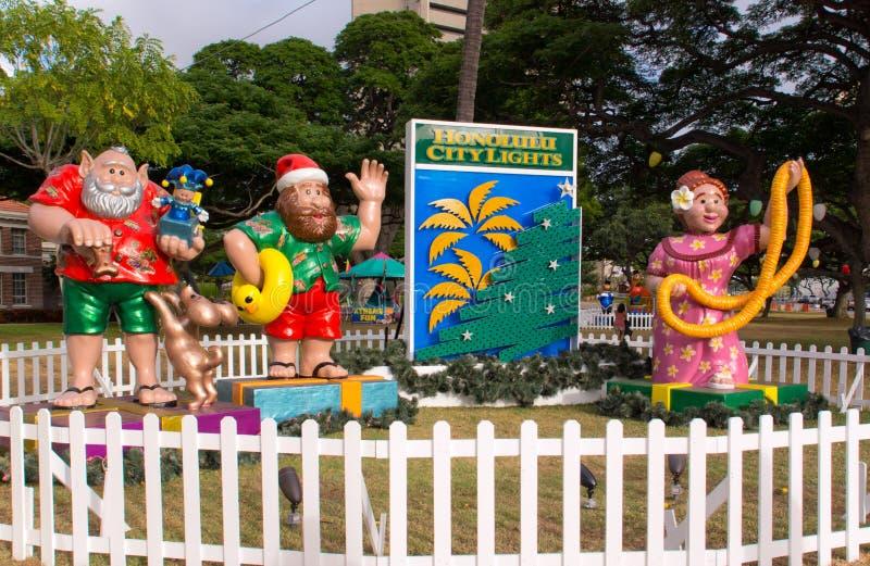 Den Honolulu staden tänder royaltyfri foto
