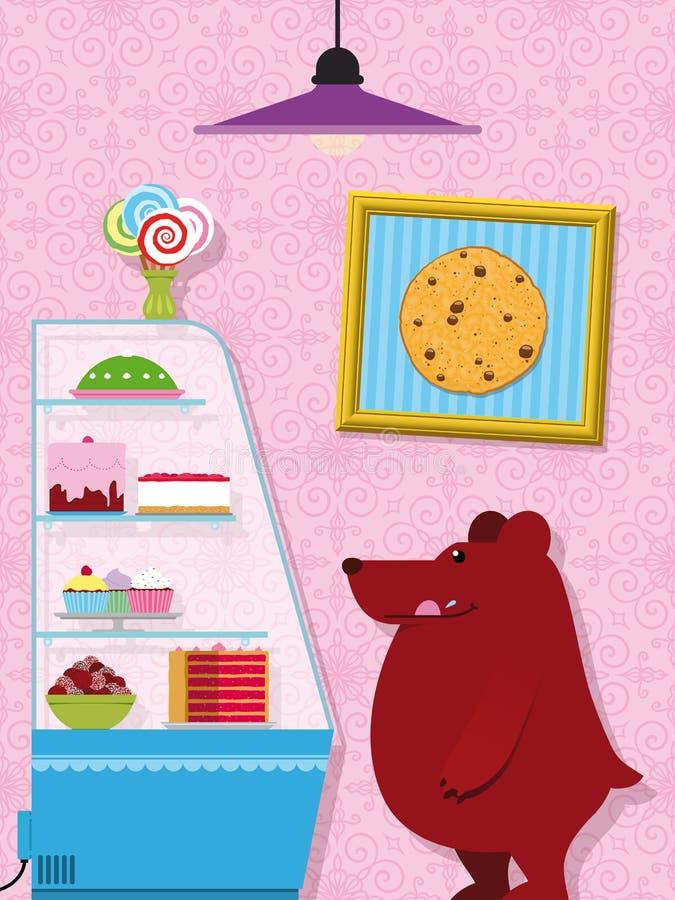 Den hungriga björnen i en konfekt shoppar lite royaltyfri illustrationer