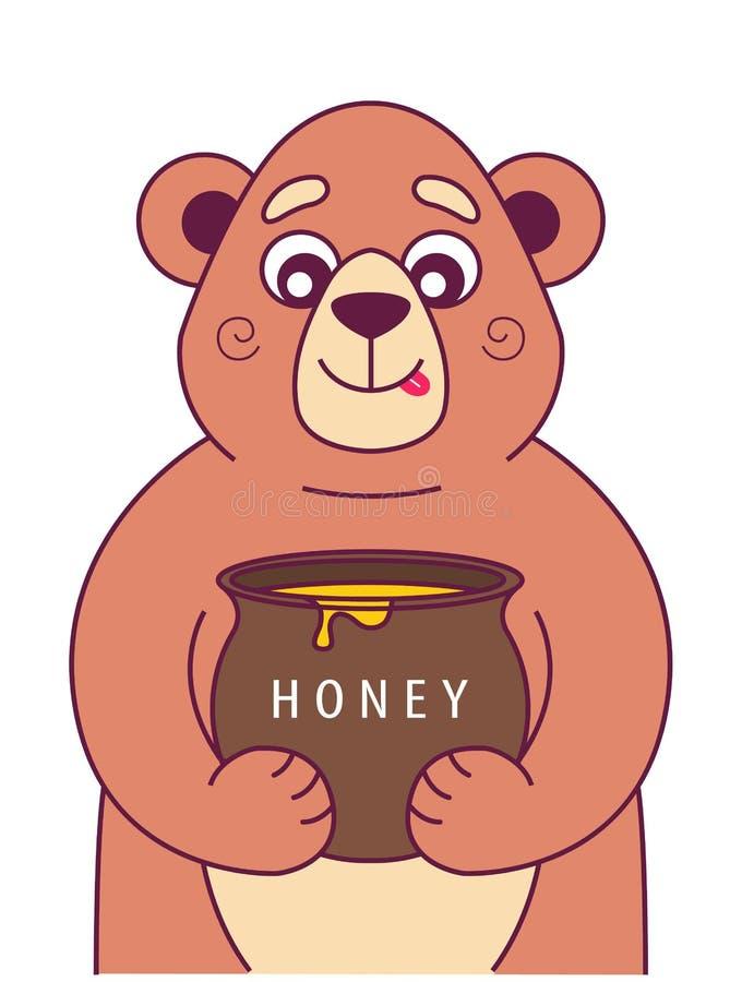 Den hungriga björnen rymmer stock illustrationer
