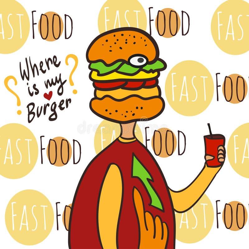 Den hungriga feta mannen med cola och hamburgaren head Var är min hamburgare Hand tecknad vektorillustration royaltyfri illustrationer