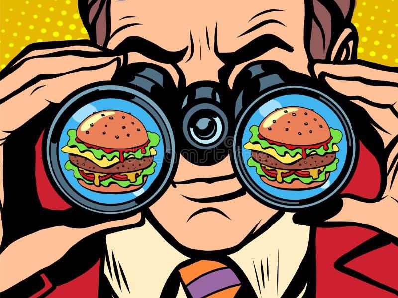 Den hungriga mannen önskar en hamburgare royaltyfri illustrationer