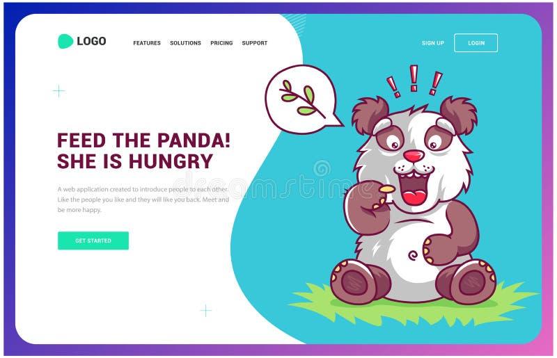 Den hungriga pandan fr?gar f?r mat webbsida och upps?ttning f?r massmediaspelare och symbols royaltyfri illustrationer
