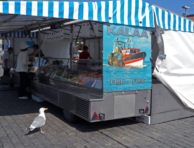 Den hungriga seagullen som ser fisken, shoppar upp till i lokal marknad av Turku, Finland arkivbilder