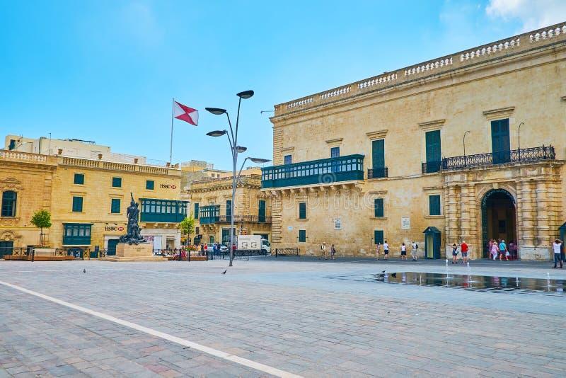 Den huvudsakliga fyrkanten av Valletta, Malta arkivfoton