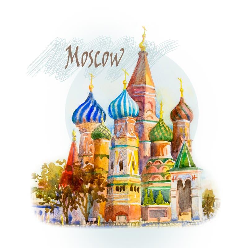Den huvudsakliga turist- dragningen i Moskva, Ryssland stock illustrationer