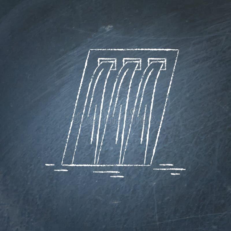 Den hydroelektriska svart tavlan för stationen skissar stock illustrationer