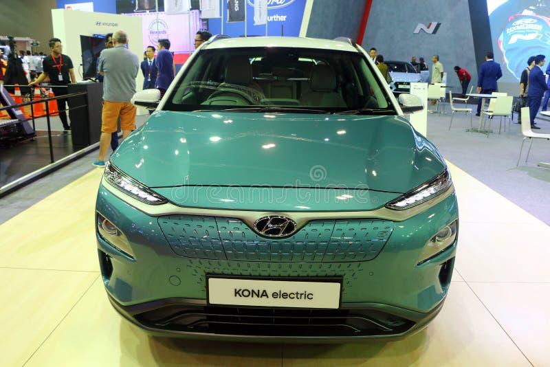 Den Hyundai Kona elbilen är en subcompact fem-dörr övergång SUV som planläggs av Hyundai, arkivbild