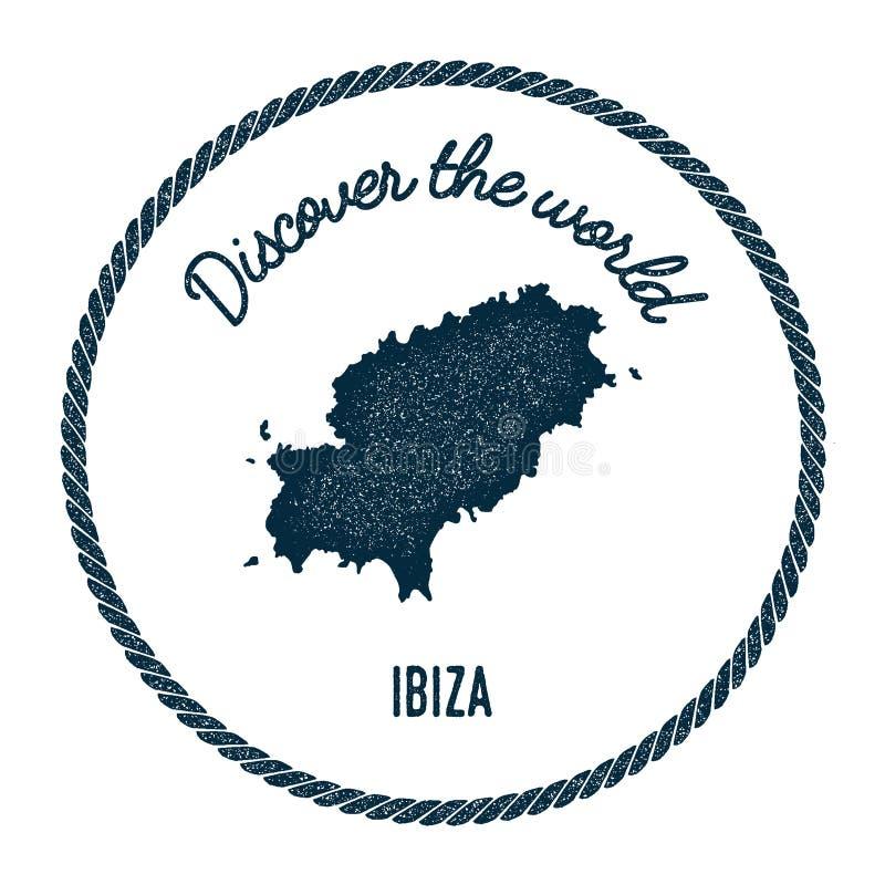 Den Ibiza översikten i tappning upptäcker världsgradbeteckningen royaltyfri illustrationer