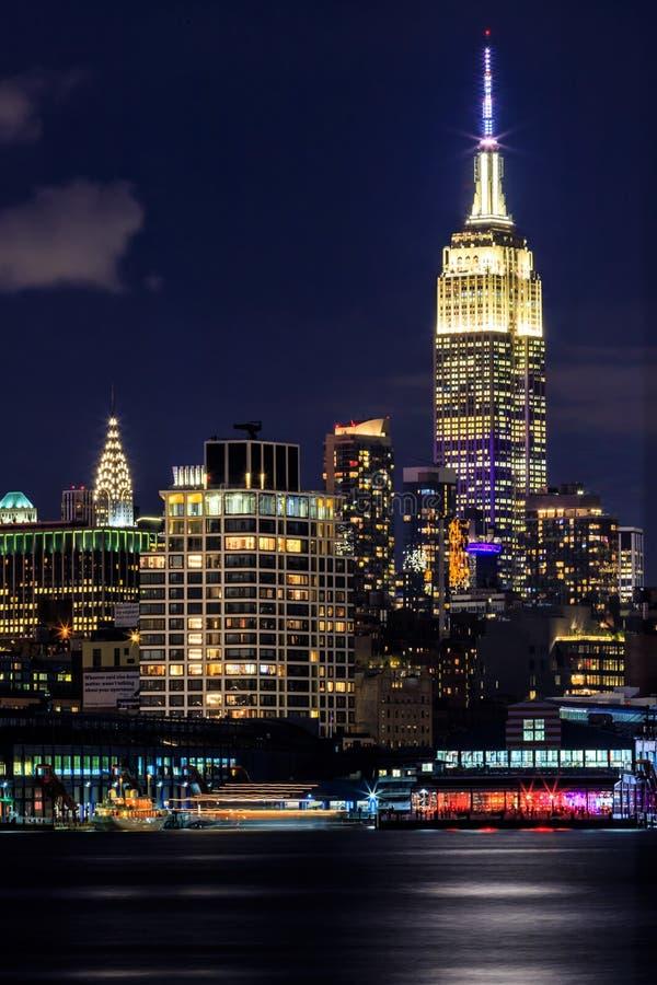 Den iconic Empire State Building vid natt, New York City, USA arkivbild