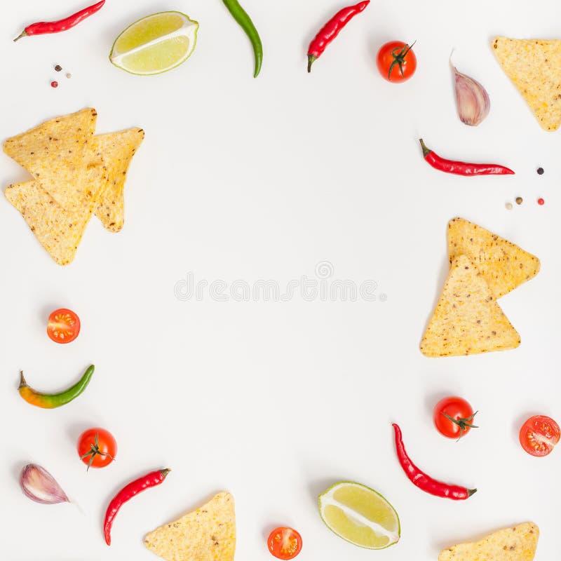 Den idérika bästa sikten lägger framlänges av nya mexikanska matingredienser med tomater för limefrukt för peppar för vitlök för  arkivfoto