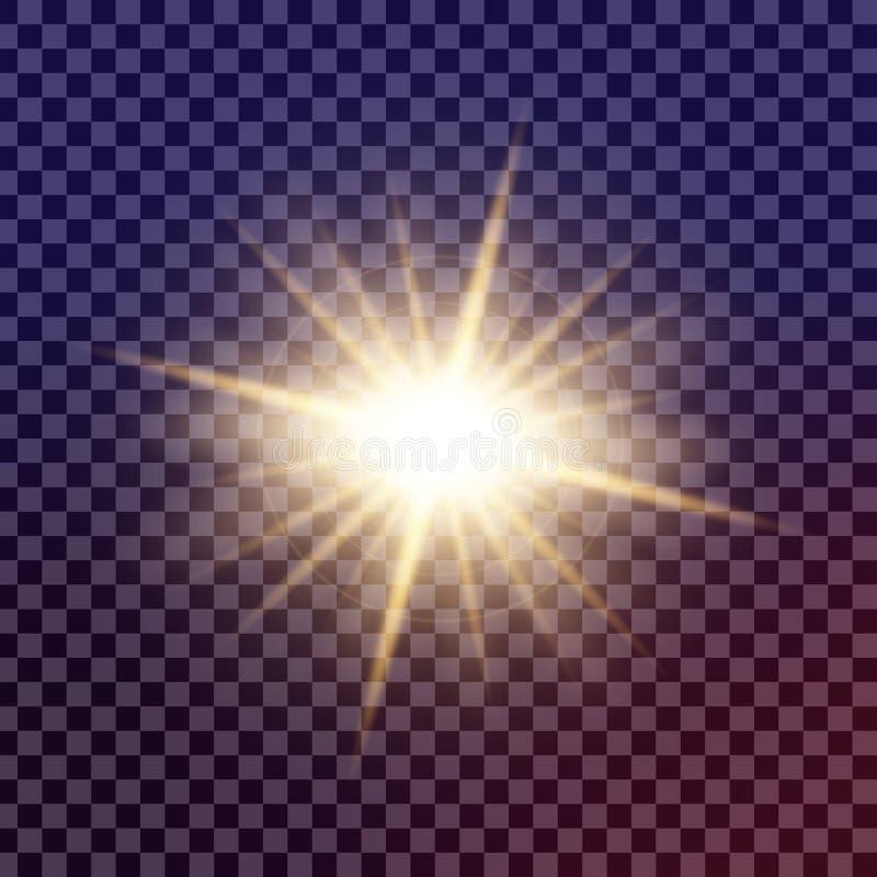 Den idérika begreppsvektoruppsättningen av bristningar för stjärnor för ljus effekt för glöd med mousserar isolerat stock illustrationer