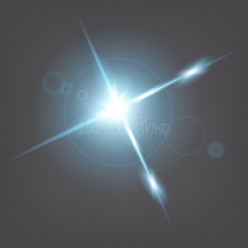 Den idérika begreppsvektoruppsättningen av bristningar för stjärnor för ljus effekt för glöd med mousserar isolerat på svart bakg arkivbilder
