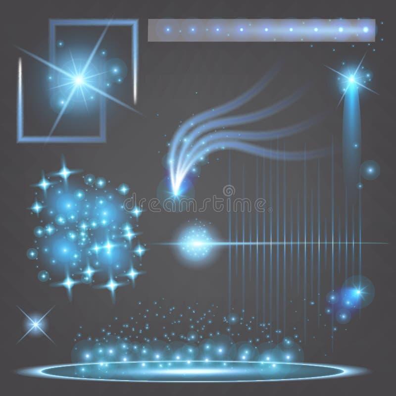 Den idérika begreppsvektoruppsättningen av bristningar för stjärnor för ljus effekt för glöd med mousserar isolerat på svart bakg royaltyfri foto