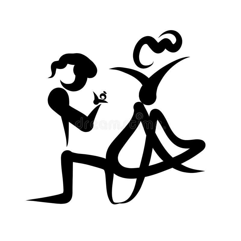 Den idérika bilden av ett älska par, en man ger en kvinna en cirkel som knäfaller stock illustrationer
