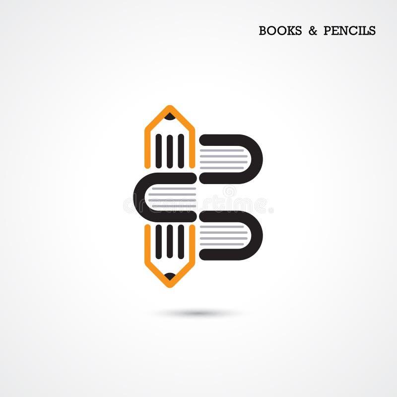Den idérika logoen för blyertspenna- och boksymbolsabstrakt begrepp planlägger vektortempla vektor illustrationer