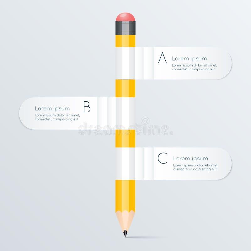 Den idérika mallen med diagrammet för blyertspennabanerflöde, kan användas för royaltyfri illustrationer