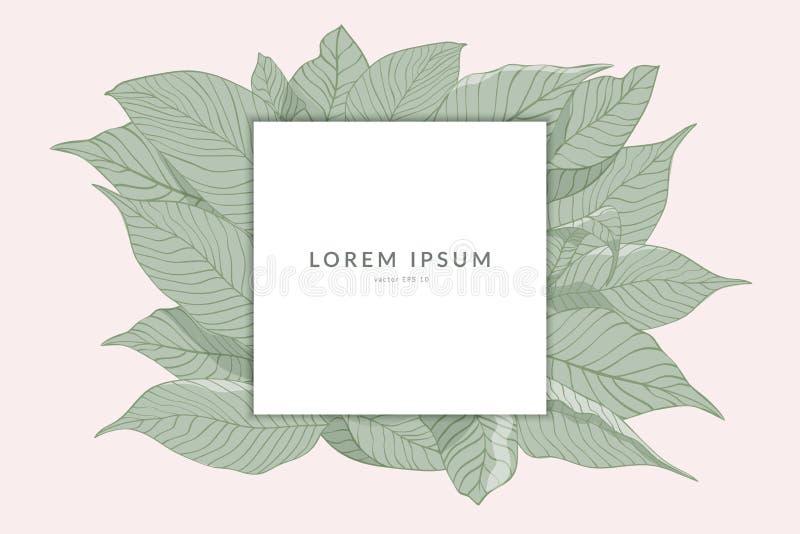 Den idérika orienteringen som göras från, skissar av gröna sidor med anmärkningen för det pappers- kortet som isoleras på rosa ba royaltyfri illustrationer