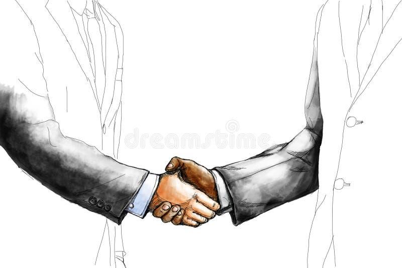 Den idérika teckningen skissar av affärsman som två skakar handen royaltyfri foto
