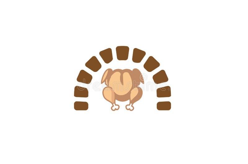 Den idérika ugnen grillade feg Turkiet mat Logo Design Symbol Vector Illustration stock illustrationer