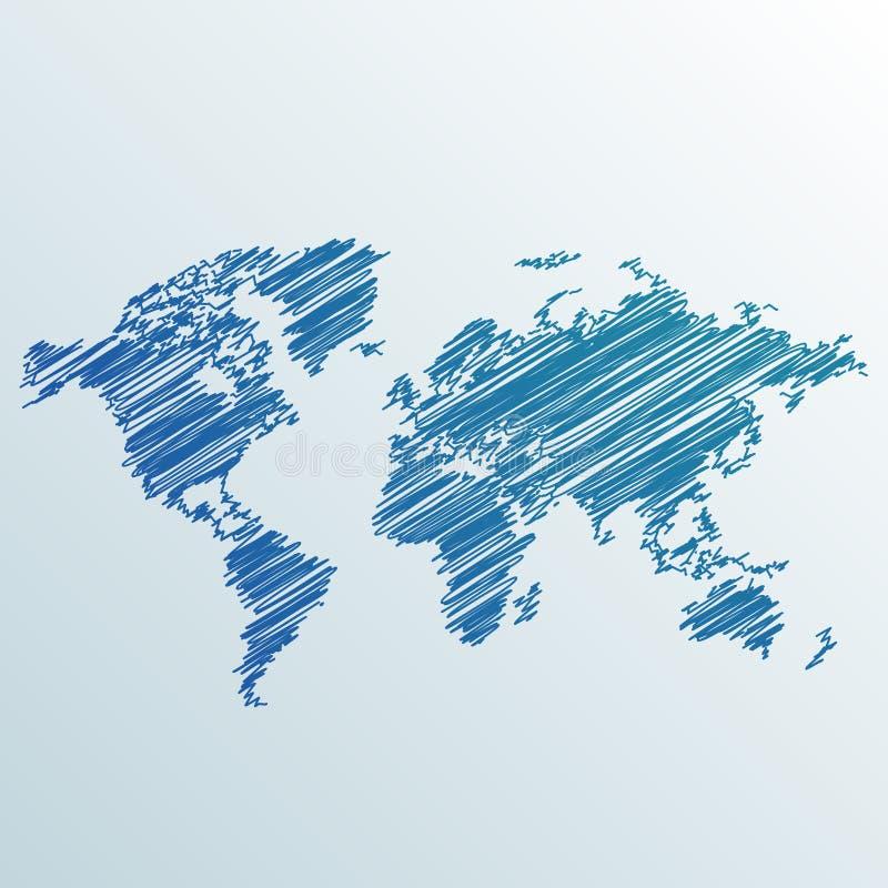 Den idérika världskartan som göras med, klottrar stock illustrationer