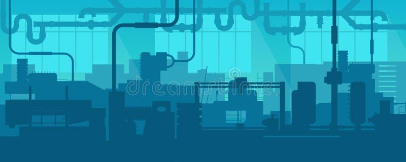 Den idérika vektorillustrationen av fabrikslinjen tillverkningsindustrianläggning scen inre bakgrund Konstdesign vektor illustrationer