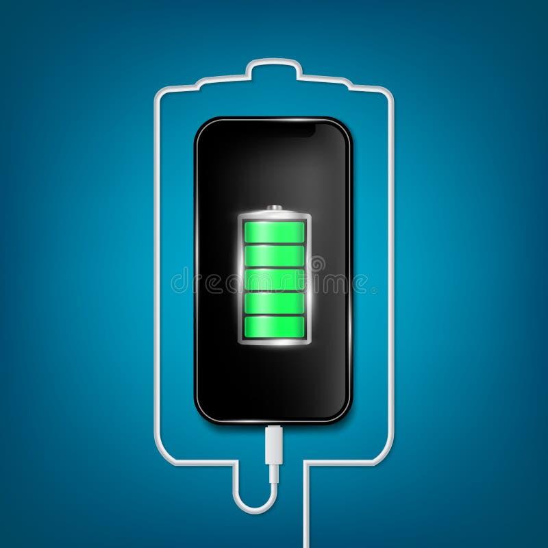 Den idérika vektorillustrationen av den fulla laddade batterismartphonen med mobiltelefonusb pluggar kabel som isoleras på bakgru stock illustrationer