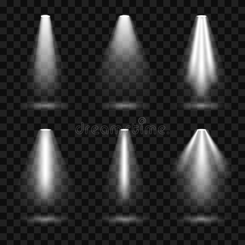 Den idérika vektorillustrationen av ljusa belysningstrålkastare ställde in, ljusa källor som isolerades på genomskinlig bakgrund  stock illustrationer