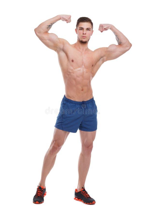 Den idrotts- grabben, med en kal torso, visar musklerna av händerna bakgrund isolerad white arkivfoton