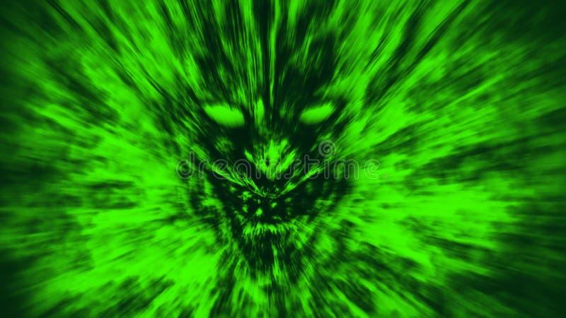 Den ilskna demonframsidan skriker i brand Grön färg royaltyfri illustrationer