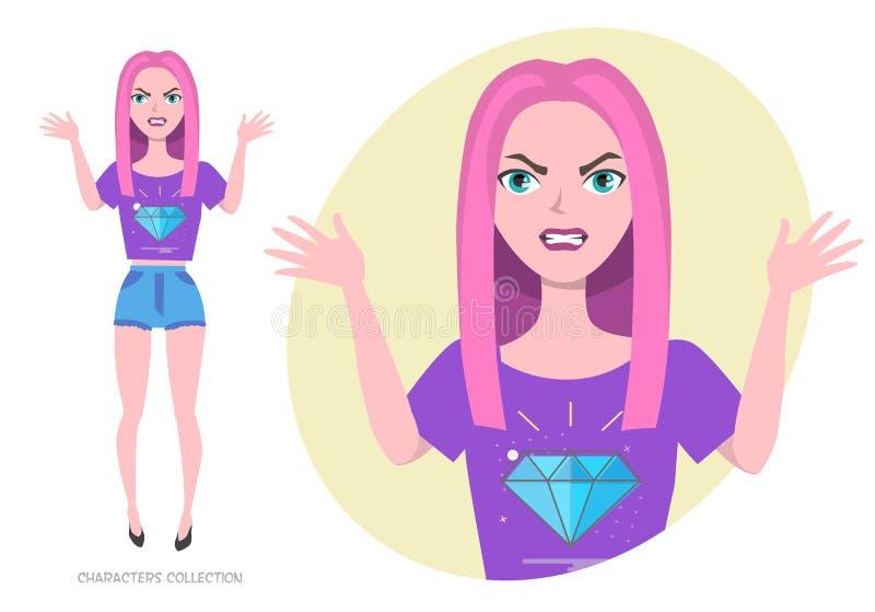 Den ilskna flickatonåringen i ultraviolet för trendig kläder färgar stock illustrationer