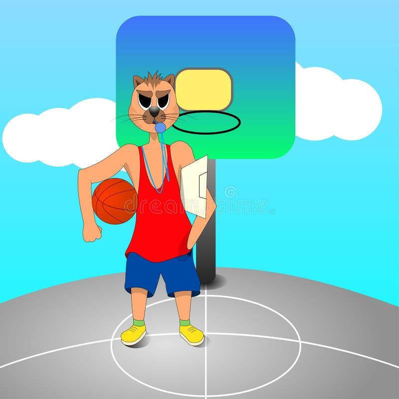 Den ilskna kattbaskettränaren är på bollen för innehavet för basketdomstolen i hand royaltyfri illustrationer