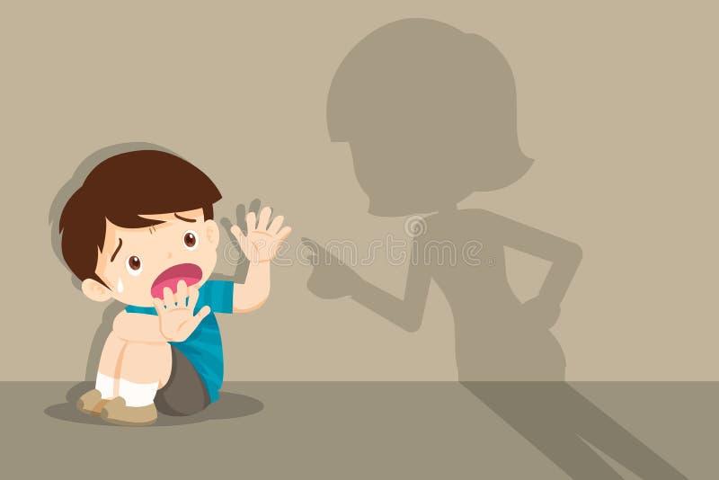 Den ilskna modern grälar på det skrämda barnet som sitter på golv stock illustrationer