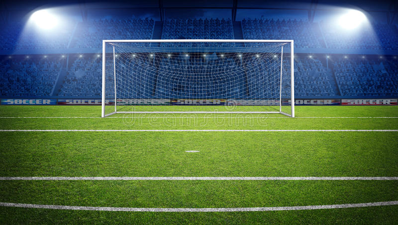 Den imaginära fotbollstadion, tolkning 3d royaltyfri foto