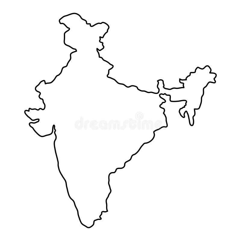 Den Indien översikten av den svarta konturen buktar illustrationen vektor illustrationer