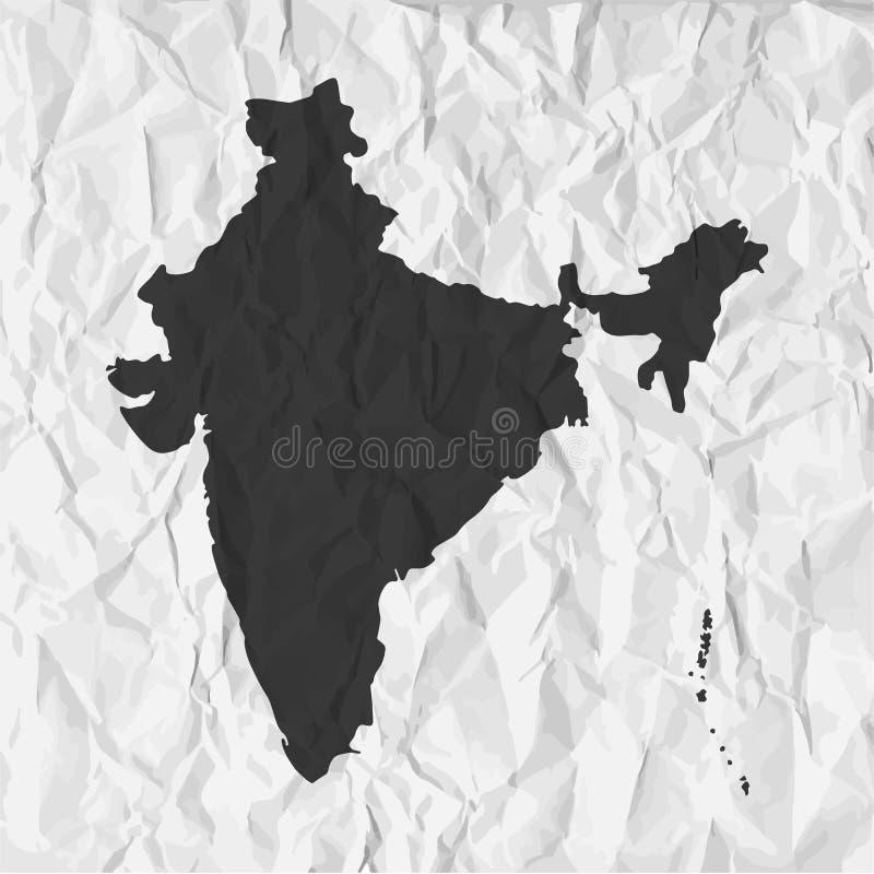 Den Indien översikten i svart på en bakgrund skrynklade papper vektor illustrationer