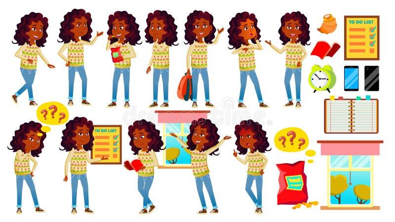 Den indiska flickaungen poserar den fastställda vektorn Högstadiumbarn hinduiskt asiat tonårs- Bok Workspace, bräde för annonseri vektor illustrationer