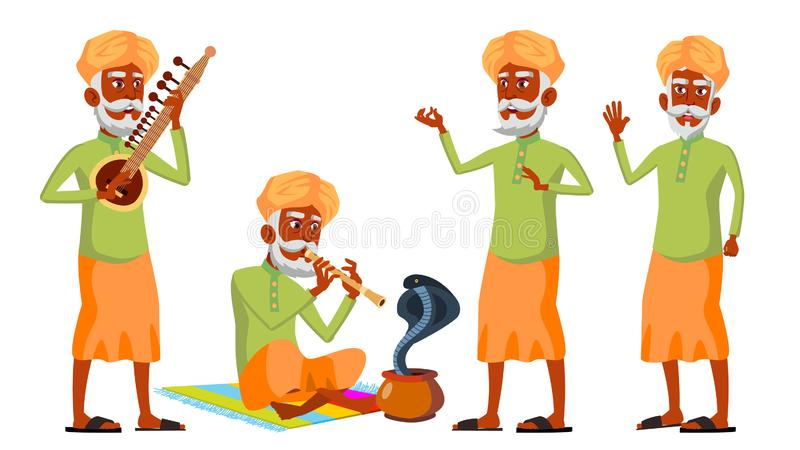 Den indiska gamala mannen poserar den fastställda vektorn hinduiskt asiat Äldre folk Hög person igen Ormkobradans annonsering vektor illustrationer