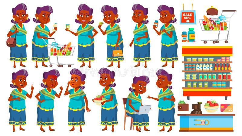 Den indiska gamla kvinnan poserar den fastställda vektorn Shopping för äldre folk hinduiskt asiat Hög person i sari igen Härlig p royaltyfri illustrationer