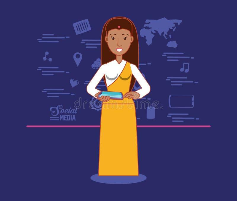 Den indiska kvinnan rymmer minnestavlacoxmputer och blå bakgrund för samkvämmassmediasymboler stock illustrationer