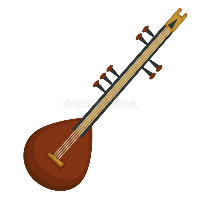 Den indiska nationella sitaren stringed musikinstrumentet isolerat objekt stock illustrationer