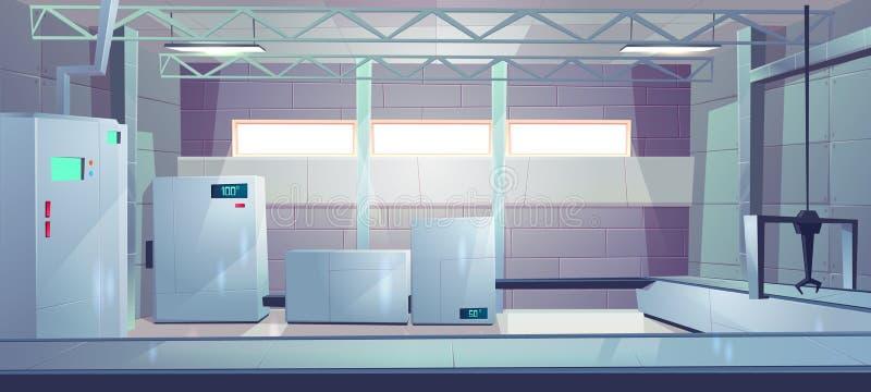 Den industriella fabriken shoppar den inre tecknad filmvektorn vektor illustrationer