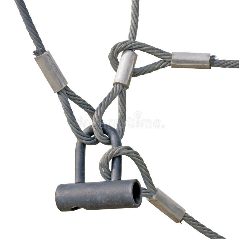 den industriella isolerade låsöglan ropes säkerhetstråd arkivbild