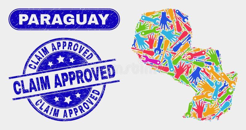 Den industriella Paraguay översikten och Grungereklamationen godkände skyddsremsor royaltyfri illustrationer